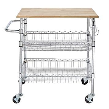 Amazon.com - StyleWell Gatefield Chrome Large Kitchen Cart ...