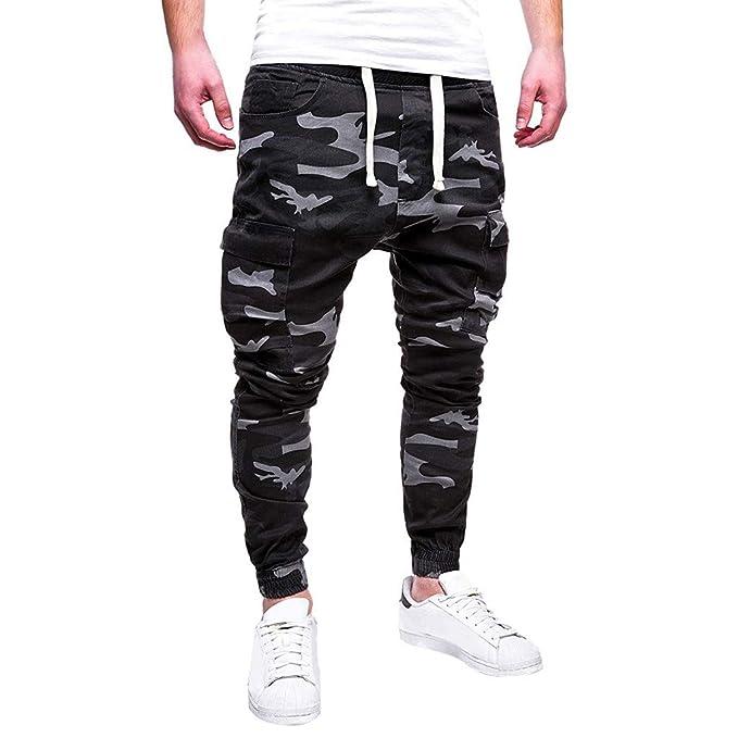 Pantalones Hombre Chandal Militar Moda Pantalones Deportivos para Hombres  Cinturones de Amarre de Camuflaje Pantalon de Lazo Suelto Joggers   Amazon.es  Ropa ... 16c81b69cea9