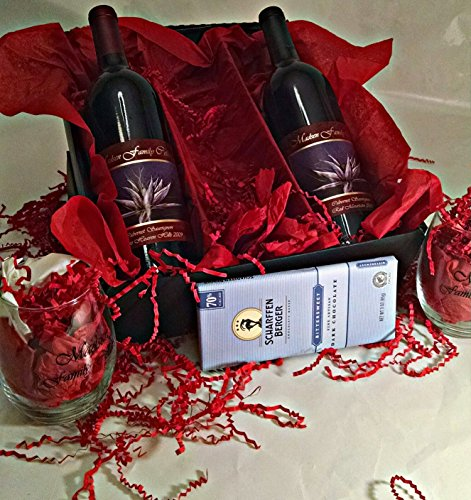 Madsen Family Cellars Cabernet Sauvignon AVA Flight Gift Set with Scharffen Berger Chocolate & 2 Wine Glasses, 2 x 750 mL