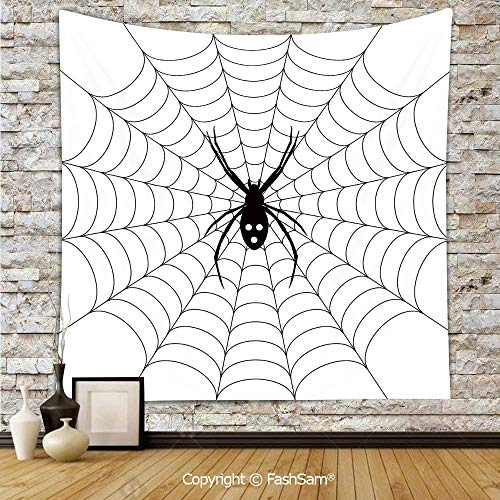 FashSam Hanging Tapestries Poisonous Bug Venom Thread Circular Cobweb Arachnid Cartoon Halloween Icon Decorative Wall Blanket for Living Room Dorm Decor(W51xL59) ()