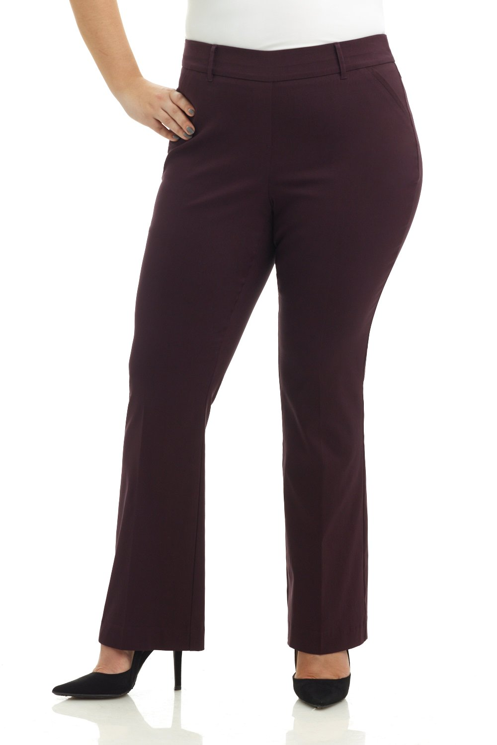 Rekucci Curvy Woman Ease in to Comfort Fit Barely Bootcut Plus Size Pant (16WSHORT,Cassis)