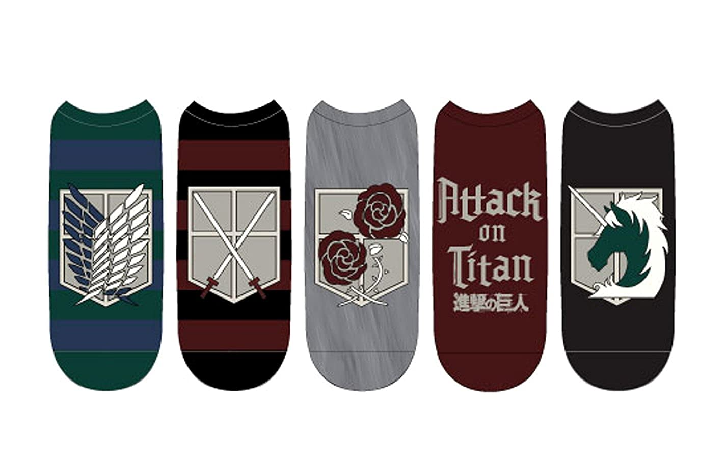 Attack on Titan Emblems Unisex Low Cut Socks: 5-Pack Everything Legwear