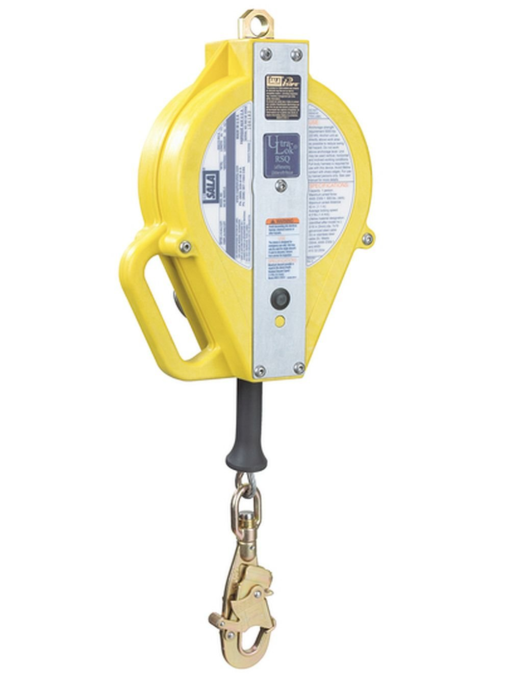 3M DBI-SALA Ultra-Lok 3504550 Self Retracting Lifeline, 50', 3/16'' Galvanized Steel Wire Rope, with Swivel Snap Hook, and Rsq Dual-Mode, Yellow