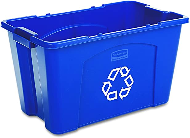 Rubbermaid Commercial Stackable Recycling Bin 18 Gallon Blue Fg571873blue In Home Recycling Bins Amazon Com Computers Accessories