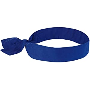 Cooling Bandana, Blue, Evaporative Polymer Crystals for Cooling Relief, Tie for Adjustable Fit, Ergodyne Chill Its 6700