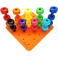 MonkeyJack Lacing Shapes and Colors Pegboard Building Puzzle Set with Travel Backpack & 30 Pegs Activity Game Montessori Fine Motor Skills Color Recognition Sorting Counting Matching Stacking Toys for Kids