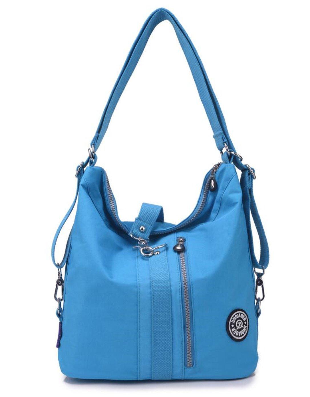 Women's Multipurpose Water-resistant Nylon Shoulder Bag Top Handle Handbag Fashion Travel Backpack Purse for Women (Sky Blue)