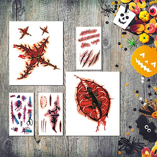 Zombie Makeup Halloween, Zombie Tattoos, Zombie Makeup Kit, Halloween Makeup Kit, Scar Tattoo, Fake Blood Makeup Fake Scars Cuts, Vampire Makeup, Healthy Makeup for Kids, 12 Sheets,67 pics Scars