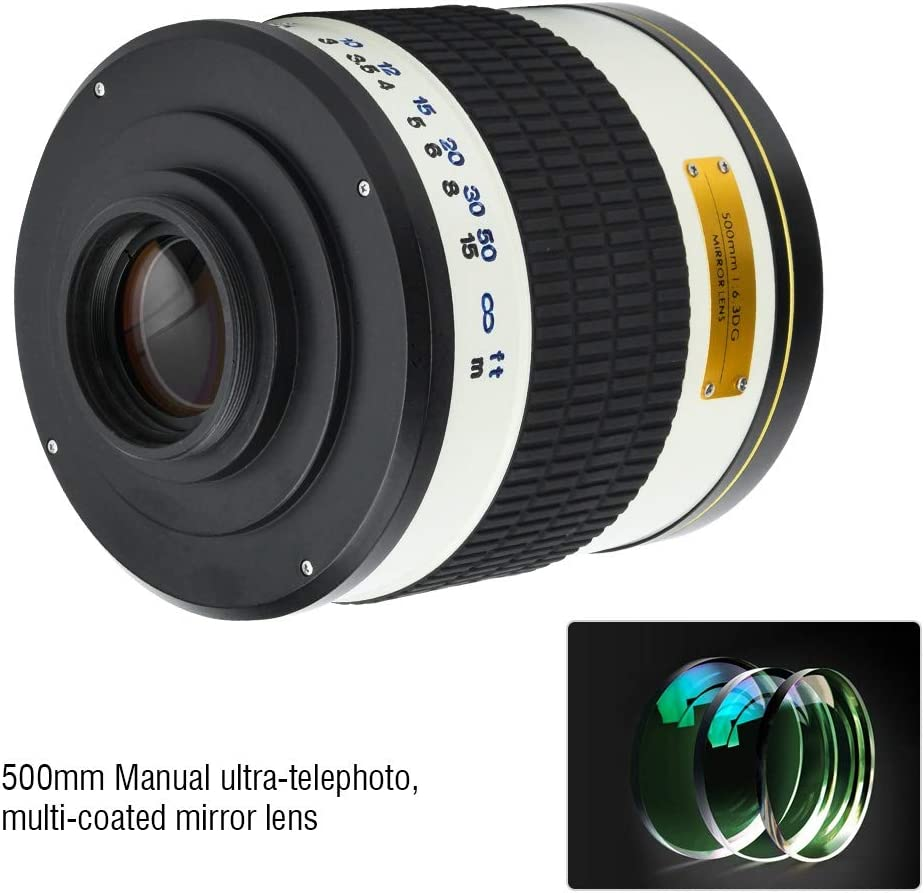 T2-M4//3 Adapter Ring Xinwoer 500mm f//6.3 Standard Prime Lens Large Aperture Manual Focus for Mirrorless Camera White,Suitable for Sports and Wildlife Photography