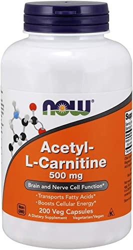 NOW Supplements, Acetyl-L Carnitine 500 mg, Amino Acid, Brain And Nerve Cell Function*, 200 Veg Capsules