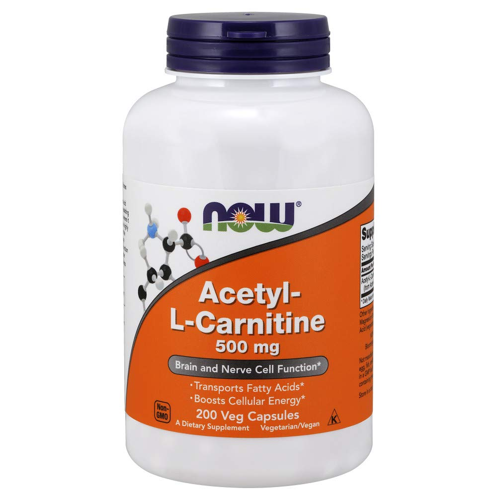 NOW Acetyl-L-Carnitine, 500 mg, 200 Veg Caps