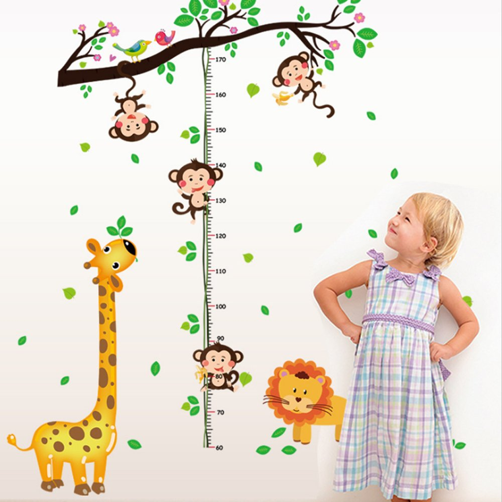 Animals Tree Branch Height Measurement Wall Sticker Decal Home Paper PVC Murals House Wallpaper Bedroom Kids Babys Living Room Art Picture Decoration Excellent shop