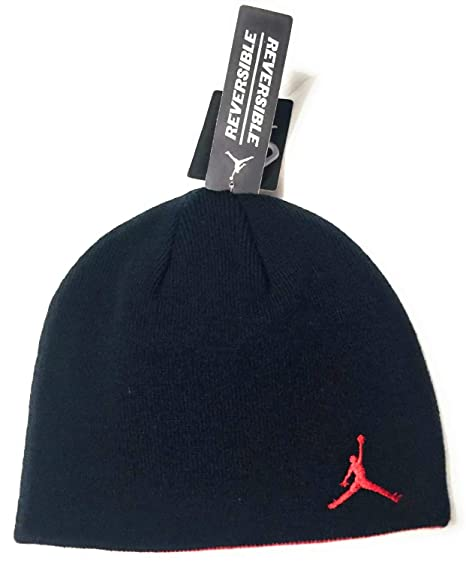 02ecb6cc0739a Image Unavailable. Image not available for. Color  NIKE Jordan Jumpman Boys  Reversible Knit Hat Black Red Youth 8 20