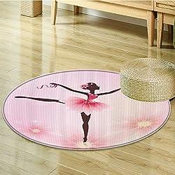 """Ballerina Ballet Dancer Trees Polka Dots Artistic Gymnastic Ballet Skirt Art Lover Girl Nursery Room Kids Decor for Teen Girls Design Polyester Fabric Circle carpet Pink Fuchsia-Diameter 100cm(40"""")"""