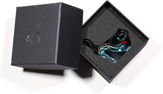 Festnight Cat and Goldfish Gift Glass Ornament Animal Figurine Handblown Home Decor Black /& Red
