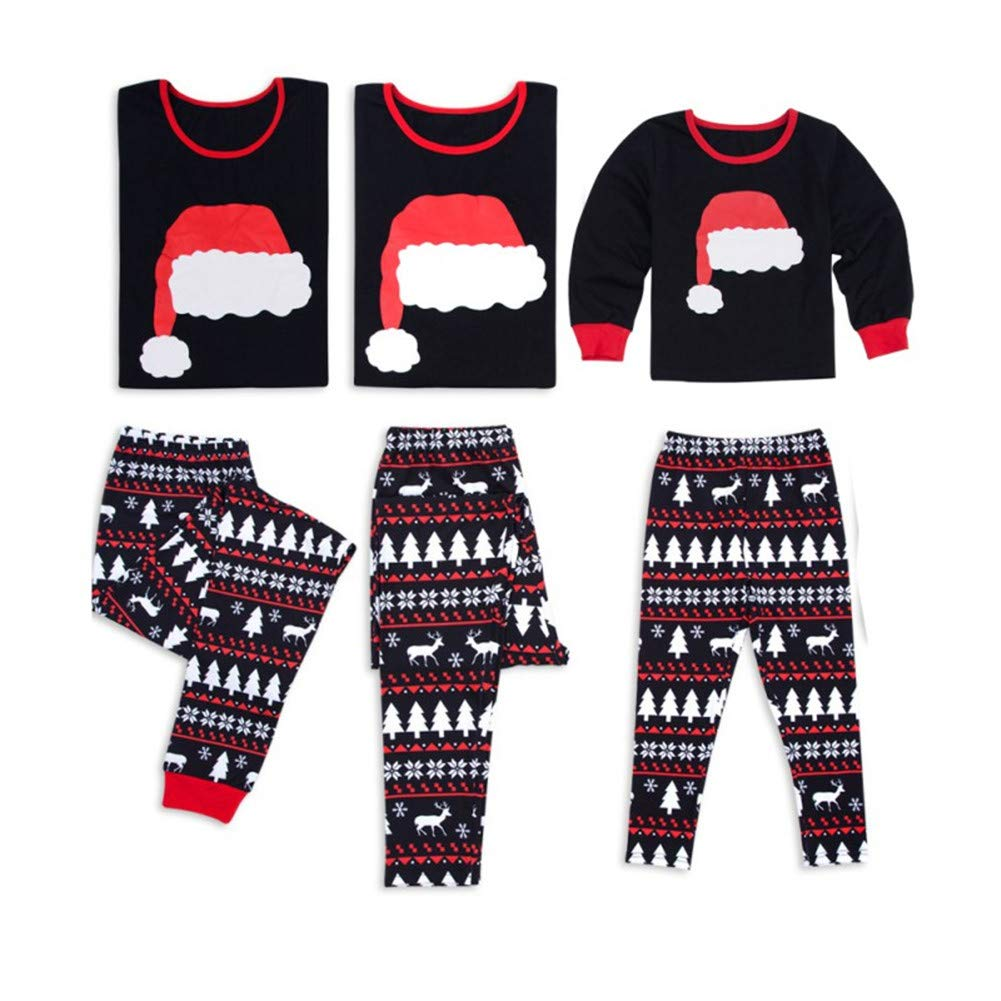 Christmas Pajamas Toddler Baby Santa Hat Printed Sleepwear for Holiday Xmas Jlong