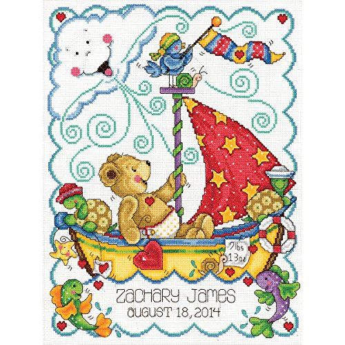 Tobin Sail Away Baby Counted Cross Stitch Kit, 11-Inch x 14-