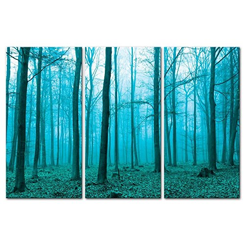 3 pieces modern canvas painting wall art the picture for home decoration fantasy forest in fog in green forest landscape print on canvas giclee artwork for