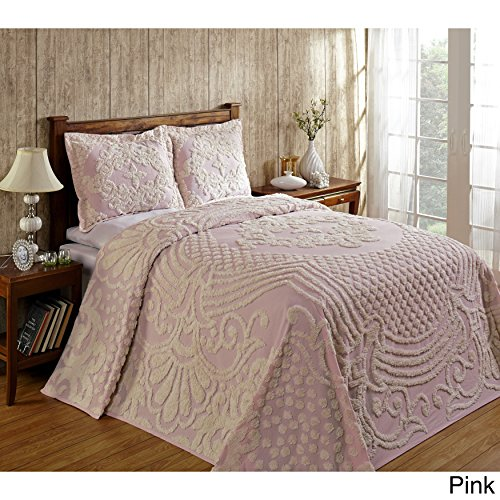 Better Trends Florence Soft Cotton Chenille Bedspread by Pink Full