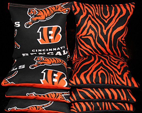 CORNHOLE BEAN BAGS made w CINCINNATI BENGALS Fabric Toss Game 8 ACA Reg Bags