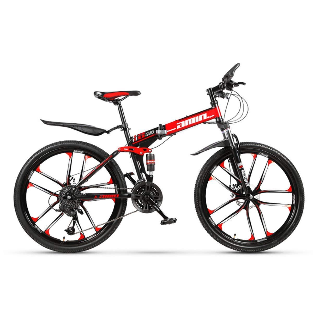 artículos de promoción 16 24speed Bicicleta de montaña de 30 velocidades, Marco de de de Acero, 26 Pulgadas, Ruedas de 3 radios, Doble suspensión, Bicicleta Plegable  suministramos lo mejor