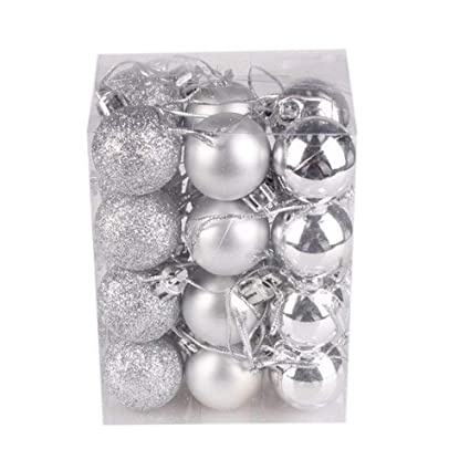 Fizzytech Christmas Plastic Ornaments Ball Christmas Tree Holiday Party Wedding Decoration (3cm,24PC, Silver)