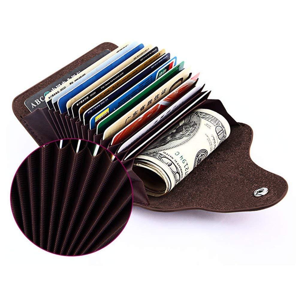 Kreditkartenetui, Hotchy Echtleder-Kreditkartenhülle Kartenbrieftasche mit 15 Fächern für Männer und Frauen für Reisen,Shopping und Arbeit Blau