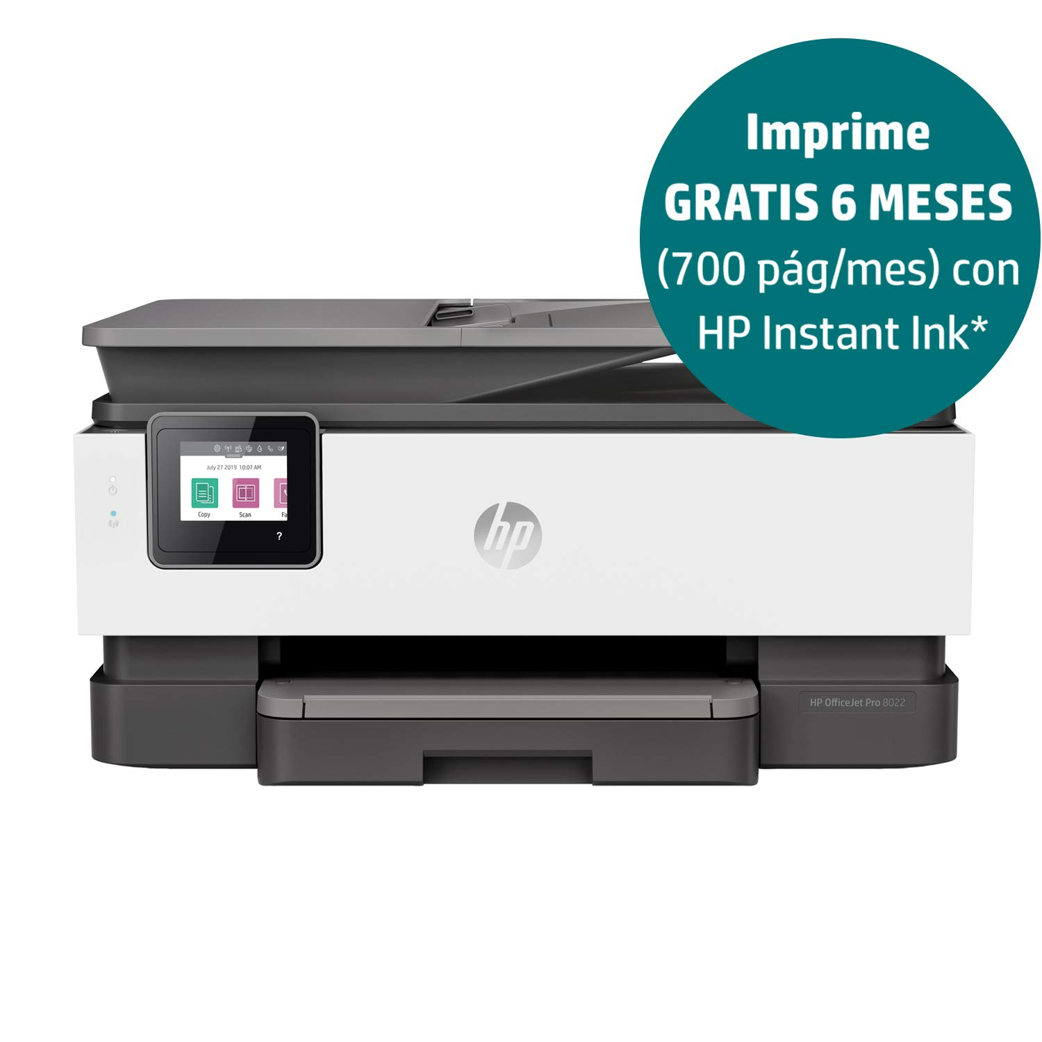 HP OfficeJet Pro 8022 - Impresora Multifunción de Tinta (20 ppm, 4800 x 1200 dpi, A4, WiFi) Color Gris