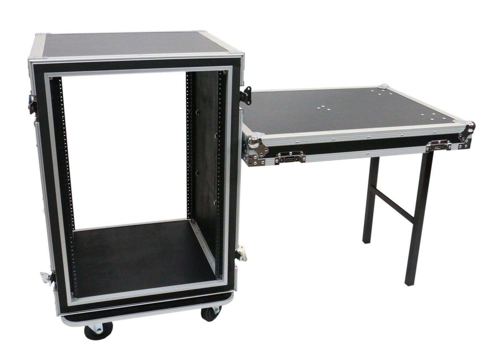 OSP Cases | ATA Road Case | Shock-Mount | 16-Space Amp Rack | 20'' Deep | Standing Lid Table | SC16U-20SL