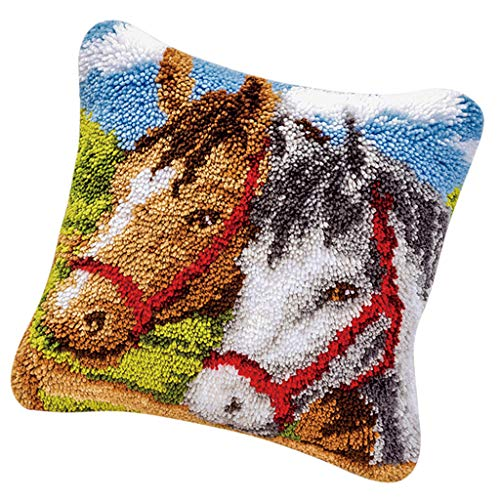 CUTICATE Animals Horse Pattern Pillow Latch Hook Rug Kit with Starter Tool for Beginners Making Crafts