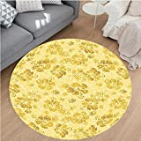 Nalahome Modern Flannel Microfiber Non-Slip Machine Washable Round Area Rug-den Hibiscus Flowers Pattern Grunge Decor Tropical Beach Theme Hawaii Nature Picture Gold area rugs Home Decor-Round 75''
