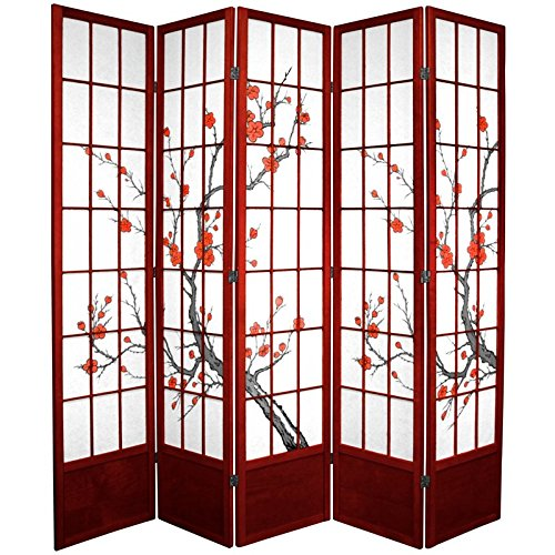 Oriental Furniture 7 ft. Tall Cherry Blossom Shoji Screen - Rosewood - 5 Panels (Dividers End Room High)