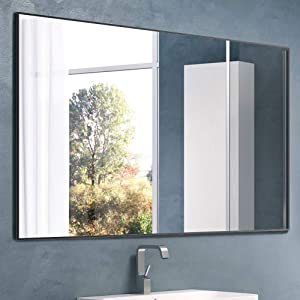 """Nitin Large Modern Wall Mirror, 36"""" x 24"""" Rectangle Wall Mounted Mirror Hangs Horizontal or Vertical for Bedroom Bathroom"""