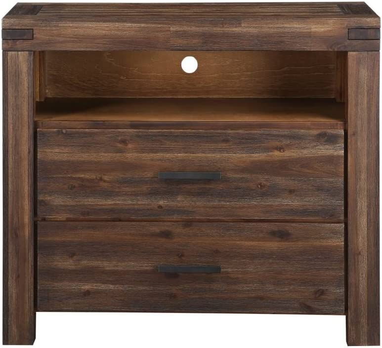 Modus Furniture Meadow Solid Wood 2-Drawer Media Chest, Brick Brown