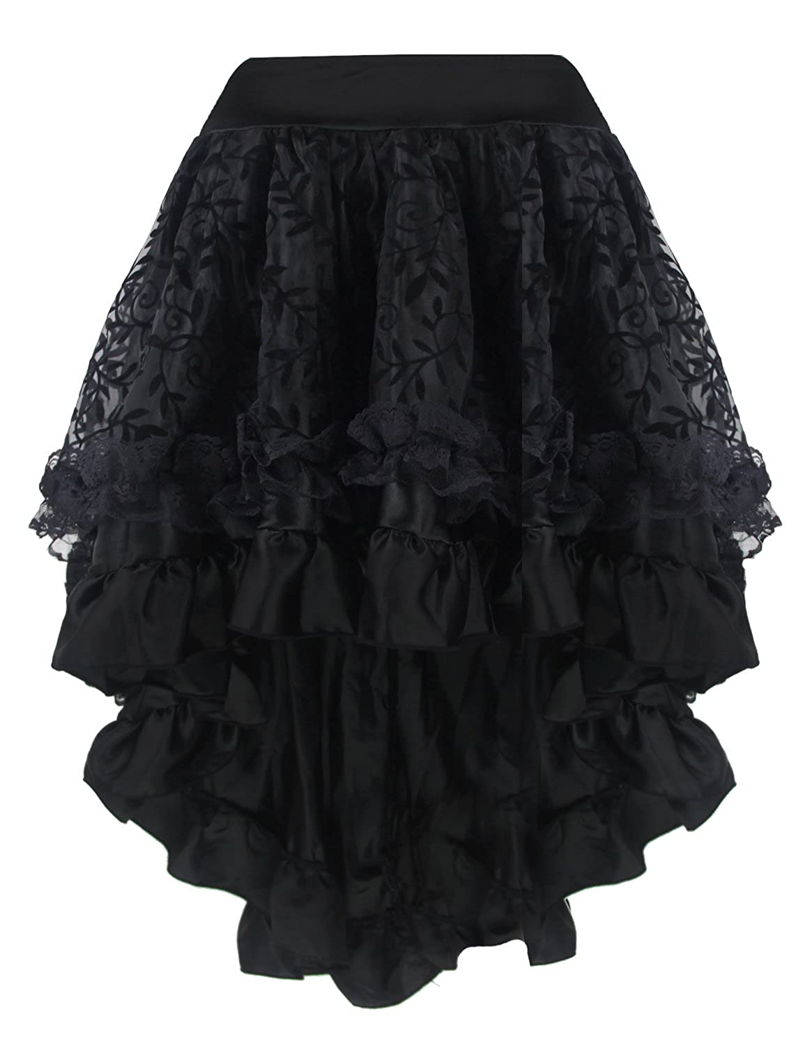 Steampunk Plus Size Clothing Burvogue Womens Gothic Steampunk Costume Vintage Multi Layered Chiffon Skirt $29.99 AT vintagedancer.com
