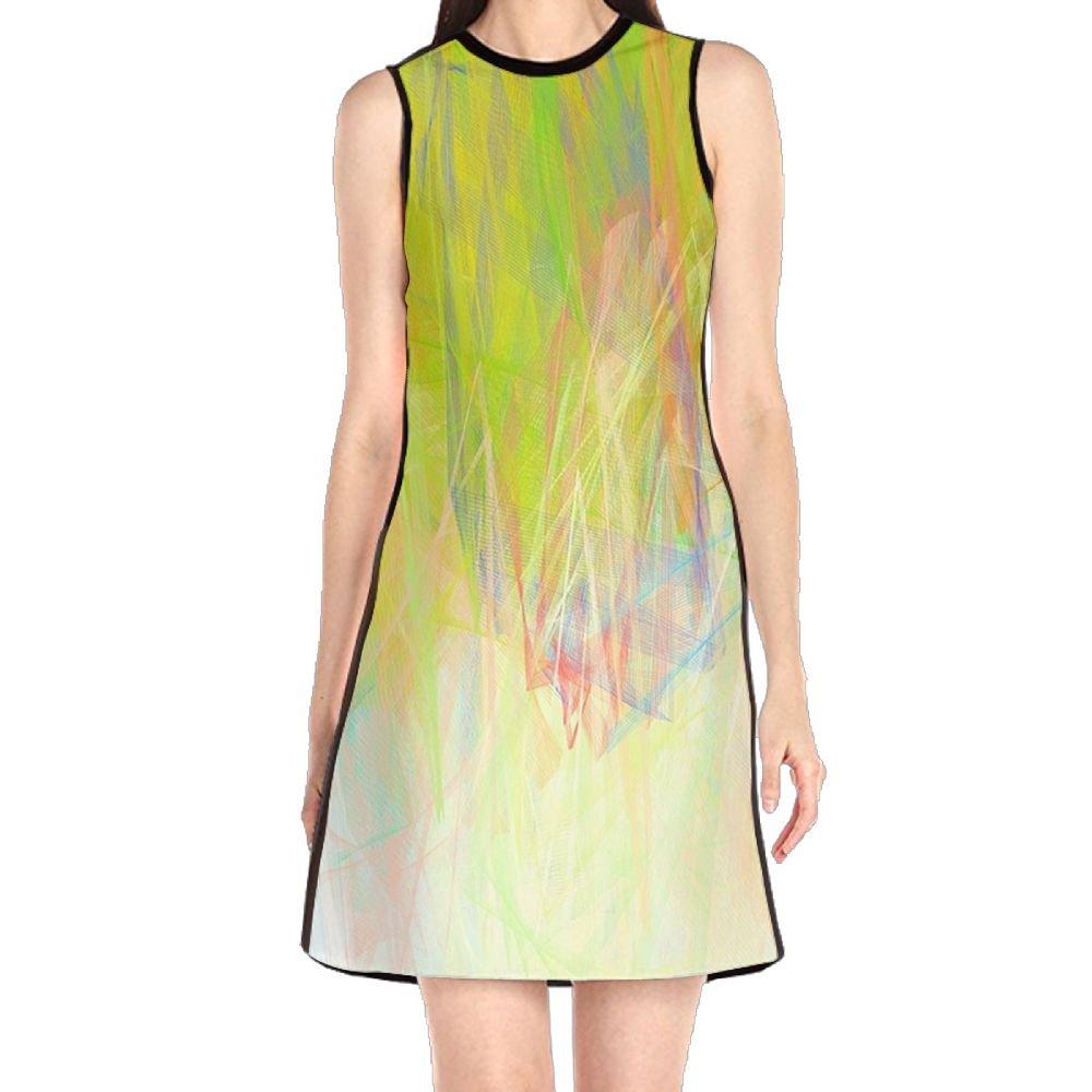 MONILO Draw Crayons Women\u0027s Sexy Sleeveless Mini Dress Print