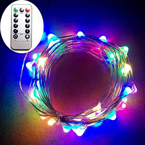Dreamworth 10M 100 LEDS Battery Operated Remote Contol LED String Lights Flexible Silver Coating Copper Wire Light LED Starry Lights Fairy Lights For Christmas Holiday Party Wedding(Multicolor)