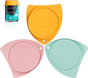 MSBC Pet Can Lid Cover for Cats and Dogs Can Food Storage Silicone Set of 3 Fish Design 3 Colors(Pink Green Orange), Universal Fits Most Standard Size Dog and Cat Can Airtight Tops BPA Free