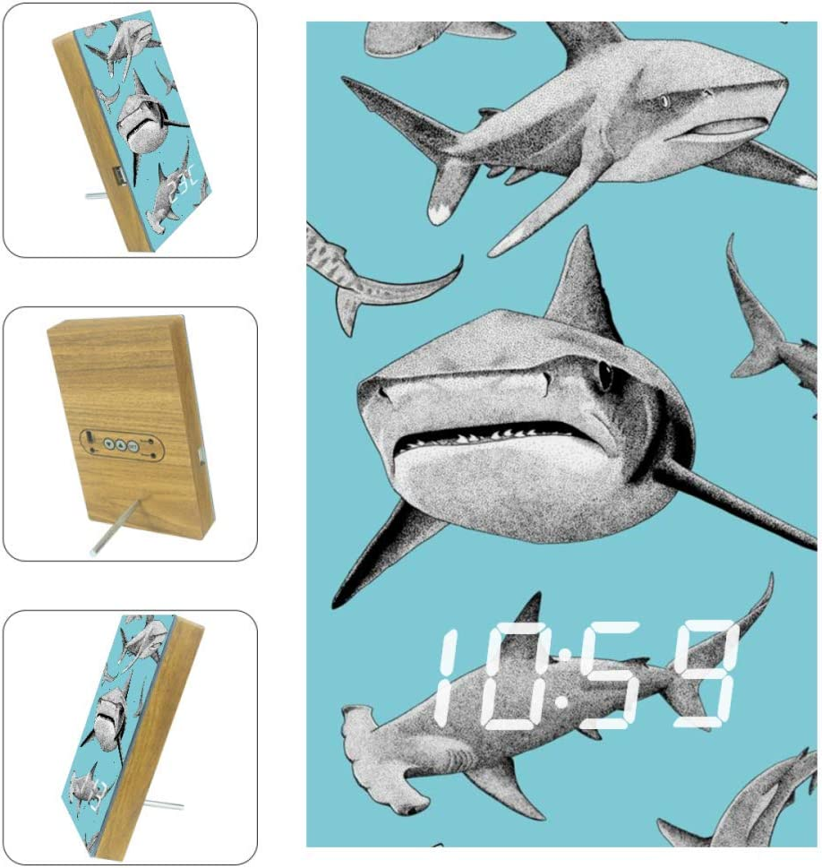 imobaby Alarm Clock Sharks Digital LED Clock with USB Charger Voice Control Custom Home Decor