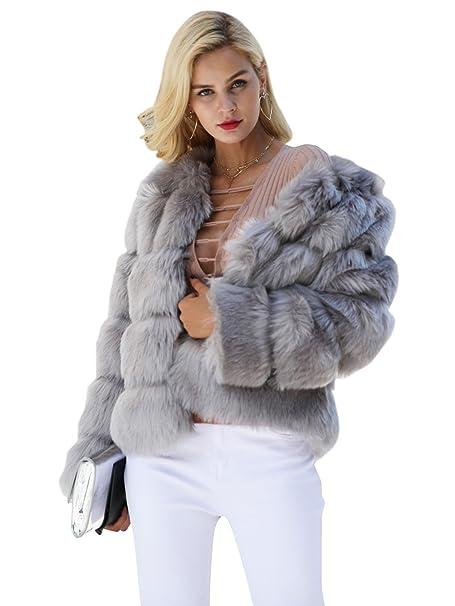 f5e565e3c800b Simplee Apparel Women s Autumn Winter Warm Fluffy Faux Fur Coat Jacket  Outerwear Gray 6 Small
