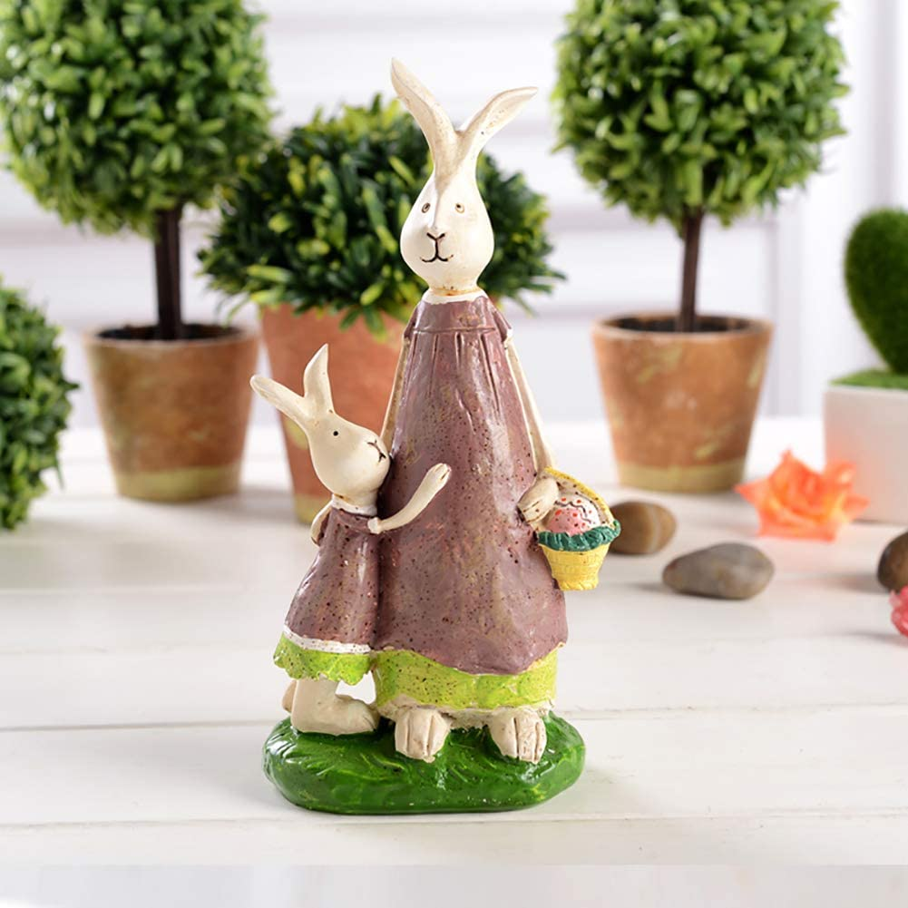 LOVEU Rabbit Statue, Resin Bunny Figurines Animal Family Sculpture Home and Garden Ornaments Decoration Easter a 19x9x5.8cm(7x4x2inch)