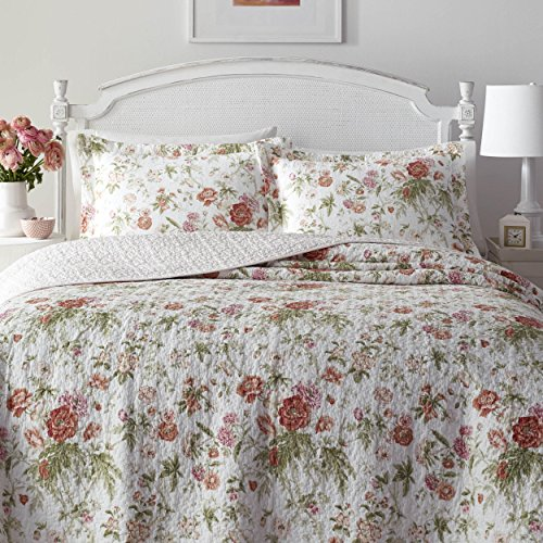 MISC 2 Piece Beautiful Red White Green Twin Quilt Set, Floral Pattern Themed Reversible Bedding French Country Shabby Chic Polka Dot Cottage Cabin Flower Rose Nature Vintage Antique Garden, ()