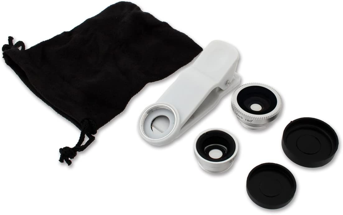 Thanko 3 in 1 Clip on Lens Kit Black Wide-Angle Lens for Selfie CLPWIDBK