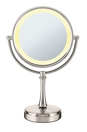 Conair Reflections 3-Way Touch Control Lighted Makeup Mirror, 1x 8x magnification, Satin Nickel
