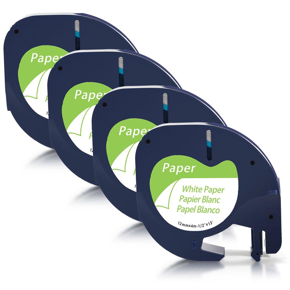 XR Plastic Label Tapes for Dymo LetraTag LT-100H QX 50 LT-100T LT-110T XM 2000 12mm x 4m Plus Label Makers 2XCompatible Dymo LetraTag 91201 Black on White