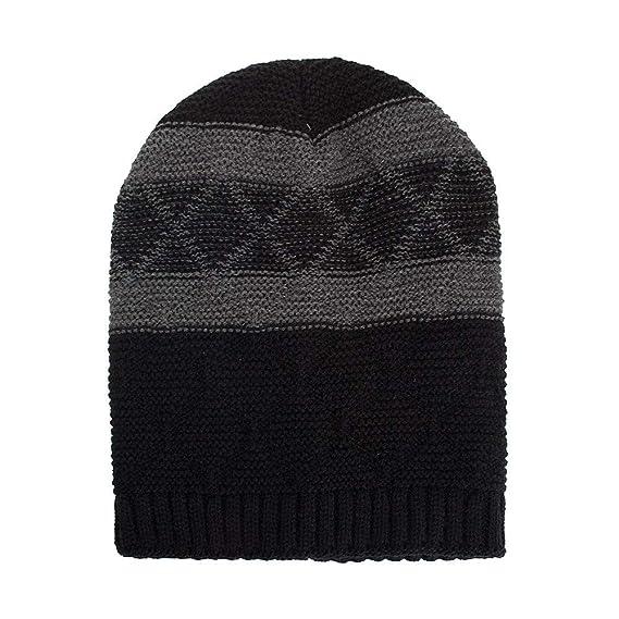 412a772eed1 iYBUIA Women Men Warm Baggy Weave Crochet Winter Wool Knit Ski Beanie Skull Caps  Hat(Black