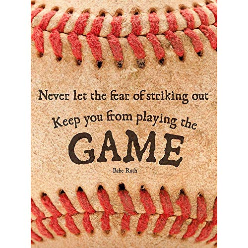 Wee Blue Coo Never Let Fear Baseball Sport Quote Typography Babe Ruth Unframed Wall Art Print Poster Home Decor Premium (Baseball Sayings)