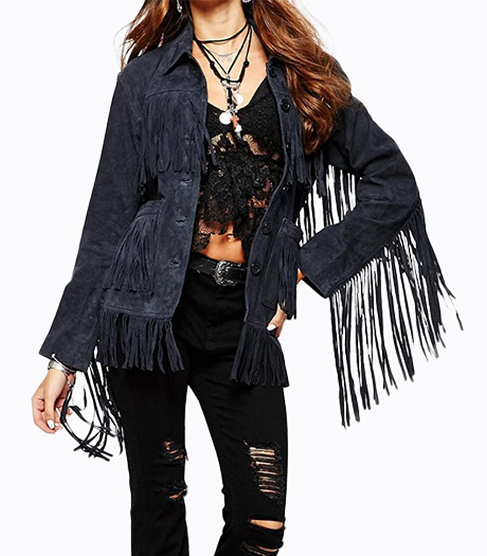 Smile YKK Womens Occident Splice Tassel Suede Coat Single-breasted Outwear Blue