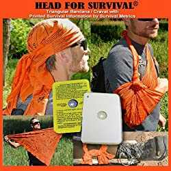 Head for Survival ORANGE Triangular Bandana / Cravat with Survival Information With Rescue Flash Signal Mirror and Fresnel Lens for Fire Starting and Magnifing