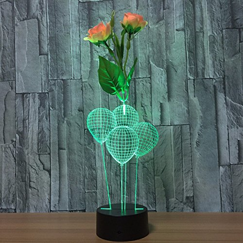 Black Illusion Flower - LED remote control Night Light Lamps,3D Optical Illusion light,7 Colors Table Flower arrangement Touch Desk Lamp,Parties Decoration ambience lamp,Holiday gifts Visual lights(balloon)